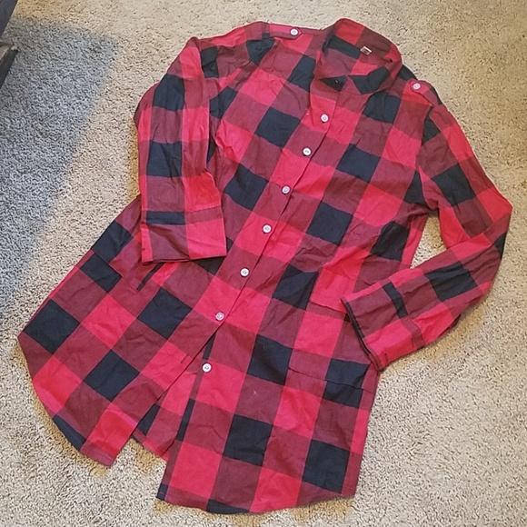 Red plaid tunic shirt